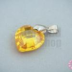 จี้หินมณีใต้น้ำ(เพชรพญานาค) หัวใจ สีเหลืองทอง 18X28มิล(1ชิ้น)
