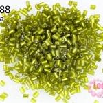 ลูกปัดจีน ปล้องสั้น สีเขียวตอง 2X2มิล (5กรัม)