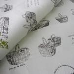 ผ้าคอตตอนลินินญี่ปุ่น ของ Daiwabo ลายตระกร้าดอกไม้ พื้นขาว