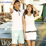 เสื้อคู่รัก ชายเสื้อคอปกสีกรม เสื้อสีขาว + หญิงเดรสแขนกุดกระโปรงติดกันคอปกสีขาว +พร้อมส่ง+
