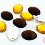 เพชรแต่ง ทรงรี สีเหลืองทอง+สีน้ำตาลเข้ม มีรู 13X18มิล(20ชิ้น)