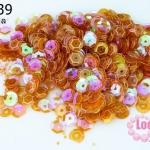 เลื่อมกลม สีส้มใส 7มิล (5กรัม)