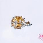 ตัวแต่งโรเดียม จี้ลูกปัด ตกแต่งสร้อยหินนำโชค รูปบอลเพชรสีเหลืองอำพัน ขนาด 9x18 มิล