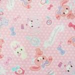 คอตตอนลินิน ญี่ปุ่น ลาย Merry Bon Bon สีชมพูน่ารัก จาก Sanrio เหมาะสำหรับงานผ้าทุกชนิด ตัด กระโปรง ทำกระเป๋า ปลอกหมอน และอื่นๆ