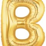"""ลูกโป่งฟอยล์รูปตัวอักษร B สีทอง ไซส์จัมโบ้ 40 นิ้ว - B Letter Shape Foil Balloon Size 40"""" Gold Color"""