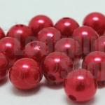 ลูกปัดมุก พลาสติก สีแดง 10มิล 1 ขีด (206ชิ้น)