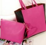 พร้อมส่ง กระเป๋าแฟชั่น Axixi สีชมพู ใบใหญ่ แถมกระเป่าใบเล็กให้ แบบสวยค่ะ