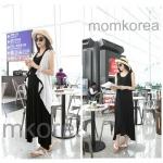 K784 ชุดเดรสคลุมท้องแฟชั่นเกาหลี โทนสีดำ เสื้อตัวนอกสีขาว เดรสตัวในสีดำยาว เนื้อผ้านิ่ม ใส่สบายมากๆ ค่ะ