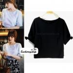 เสื้อแฟชั่น เสื้อทำงาน ผ้าฮานาโกะ สีดำ แต่งโบว์ที่แขน แบบสวยน่ารัก สไตล์เกาหลี สินค้าคุณภาพดี ราคาเบาๆ