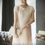 JK025  ชุดคลุมท้องแฟชั่นเกาหลี โทนสีครีม ตกแต่งด้วยผ้าขนฟูนิ่มๆ ใส่ไปงานดูหรู หรือว่าจะใส่ไปทำงานก็ดูดีอีกแบบค่ะ