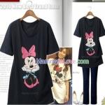 เสื้อคลุมท้องแขนสั้น ลายมินนี่ เม้าส์ (Minnie Mouse) : สีดำ รหัส SH125