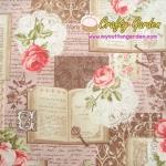 ผ้าคอตตอนลินิน ญี่ปุ่น รุ่น Vintage Collage ลายสารานุกรม กุหลาบ และดอกไม้ สไตล์วินเทจ สีน้ำตาลเปลือไม้ สวยมากค่ะ