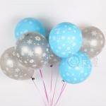 """ลูกโป่งกลมพิมพ์ลายหิมะ Snow Flake สีฟ้าและสีเงิน แพ็คละ 10 ใบ(Round Balloons 12""""- Printing Snow Flake Blue and Silver color)"""