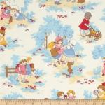 ผ้าฝ้ายญี่ปุ่นลาย เด็กผู้หญิง Petite Marianne โทนฟ้า น่ารักมากค่ะ ผ้าเนื้อดีสีสวย คอตตอน 100%