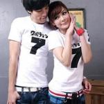 ชุดคู่รัก เสื้อคู่รักเกาหลี เสื้อผ้าแฟชั่น ชายหญิงเสื้อยืดสีขาว ลาย เลข7