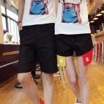 กางเกงคู่รัก ชาย + หญิงกางเกงขาสั้น แบบรูดซิบ ลายสีเรียบ สีดำ +พร้อมส่ง+