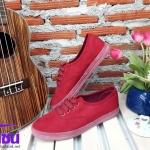 รองเท้าผ้าใบแฟชั่นเกาหลี สีแดงกำมะหยี รุ่นSM1637 เบอร์36-40