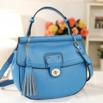 พร้อมส่ง กระเป๋าแฟชั่น Axixi สีฟ้า ใบกลาง แบบตัวล๊อค สวยค่ะ