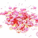 เลื่อมปัก กลม สีชมพูอมแดงรุ้ง 6มิล(5กรัม)