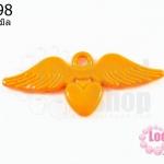จี้โรเดียม หัวใจมีปีก สีส้ม 25 มิล