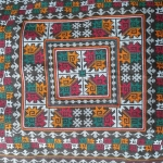 ผ้าปักคลุมหัวเจ้าสาว ปักลายโบราณ โทนสีฟ้าอ่อน แซมสีแดง เขียว สีสันสดใส