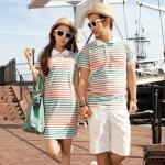 +พร้อมส่ง+ เสื้อคู่รักเกาหลี แฟชั่นคู่รัก ชายเสื้อคอปกแขนสั้น + หญิงเดรสคอปกแขนสั้น ลายแถบส้มเขียวน้ำตาลคั่นด้วยสีขาว