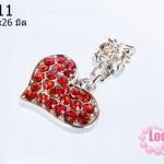 ตัวแต่งโรเดียมชุบเงิน จี้รูปหัวใจ เพชรสีแดง 17X26มิล (1ชิ้น)