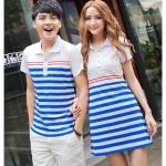เสื้อคู่รัก ชุดคู่รัก พร้อมส่ง ชายเสื้อคอปก + หญิงเดรสแซกคอปกสีขาว แต่งลายสีฟ้าขาว