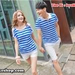 เสื้อคู่รัก ชายเสื้อยืดคอปก + เสื้อยืดคอปก แต่งเว้าไหล่ ลายสีฟ้าขาว +พร้อมส่ง