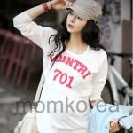 MK326 เสื้อให้นมแฟชั่นเกาหลี โทนสีขาวแขนยาวสกรีน คำว่า COUNTRY 701ด้านหน้า