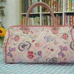 กระเป๋าผ้าญี่ปุ่น ทรง Speedy สายหนังแท้ ปรับความยาวได้ สีชมพูหวานน่ารัก (สินค้าฝากขาย ไม่บวกเพิ่ม )