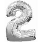 """ลูกโป่งฟอยล์รูปตัวเลข 2 สีเงิน ไซส์เล็ก 14 นิ้ว - Number 2 Shape Foil Balloon Size 14"""" Silver Color"""