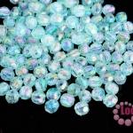 ลูกปัดพลาสติก กลมเจียร สีฟ้าเหลือบรุ้ง 5มิล(100กรัม)