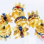 ฝาครอบมงกุฎ สีทองประดับเพชรหลากสี 8 มิล