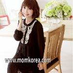 MK301 ชุดคลุมท้องแฟชั่นเกาหลี สีดำ ผ้าซีฟอง สวมใส่สบาย จะใส่ไปทำงาน หรือใส่เที่ยวก็ได้ค่ะ หลังคลอดใส่ได้