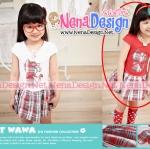 เสื้อผ้าเด็ก ชุดเดรสเด็กผู้หญิง ติดแมวสีแดงกระโปรงผ้าลายสก็อต