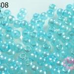 ลูกปัดมุก พลาสติก สีฟ้ารุ้ง 6 มิล 1 ขีด