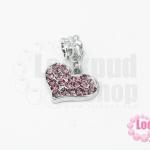 ตัวแต่งโรเดียมชุบเงิน จี้รูปหัวใจ เพชรสีม่วง 17X26มิล(1ชิ้น)