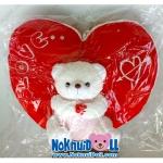 ตุ๊กตาแฟชั่น หมอนอิงรูปหัวใจหมีนั่งถือกุหลาบ สูง13นิ้ว
