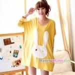 เสื้อคลุมท้องผ้าคอตตอน ลายกระต่ายหูยาว : สีเหลือง รหัส SH087