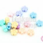 ลูกปัดพลาสติก สีพาลเทล ดอกไม้ คละสี 9มิล(1ขีด)