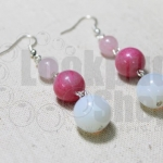 DiY idea 3 : ต่างหูศิลามาลี Flower Earring with Rhodochrosite, Rose Quartz and Moonstone