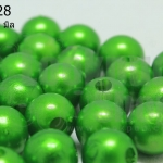 ลูกปัดมุก พลาสติก สีเขียว 10มิล (1ขีด/100กรัม)