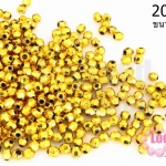 ลูกปัดพลาสติกเคลือบสีทอง กลมเจียรเหลี่ยม 3มิล (1ขีด/7,155ชิ้น)