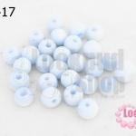 ลูกปัดแก้ว ตาแมว สีขาวอมฟ้า 9มิล (1ขีด/100กรัม)