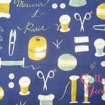 คอตตอนลินิน ญี่ปุ่น ลายเย็บปักถักร้อย รุ่น Mercerie Paris สีน้ำเงิน เหมาะสำหรับงานผ้าทุกชนิด ตัด กระโปรง ทำกระเป๋า ปลอกหมอน และอื่นๆ