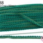 ปอมเส้นยาว (จิ๋ว) สีเขียวเข้ม กว้าง 1ซม(1หลา/90ซม)