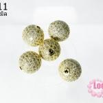 ตัวแต่งหินนำโชค บอลเพชร CZ เกรด จิวเวอรรี่ สีทอง 12 มิล