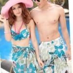 พร้อมส่ง ชุดว่ายน้ำคู่รัก ชุดว่ายน้ำบิกินี่ทูพีช ลายใบไม้ โทนสีฟ้าอมเขียว พร้อมผ้าคลุมซีทรูผืนใหญ่สุดสวย