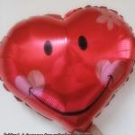 ลูกโป่งฟลอย์รูปหัวใจ หน้ายิ้มสีแดง ไซส์ 18 นิ้ว - Red Heart Shape Smiley Face Foil Balloon / Item No. TL-F004
